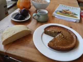 Bread and mango cake