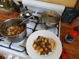 Veggies with Indian spices, home-made sweet chili sauce and rice.