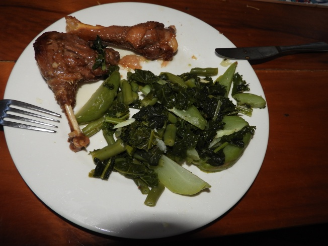 Confit and lightly boiled greens