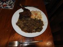 Confit, ratatouille and coleslaw
