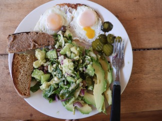 Salad, eggs, pickles, avocado, Etienne's home made pate.
