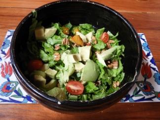 From the garden: lettuce, pumpkin, avocado, pecan, mizuna
