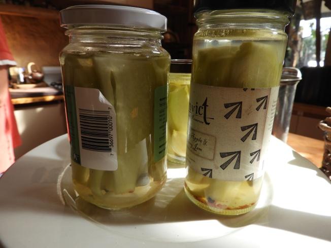 Fermented Choko with garlic, peppercorns, fresh chili and a bay leaf