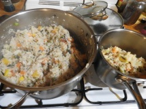 Vegetable risotto with goat cheese