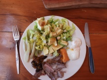 Roast meat, roast pumpkin, avocado salad, boiled egg and fermented choko #healthy