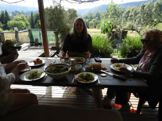 Aunty Marion, Uncle Ernie and Grandma Jessie sharing lunch