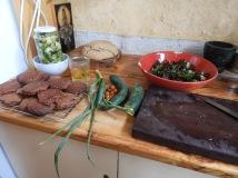 biscuits, bread, kimchi, salad #organic